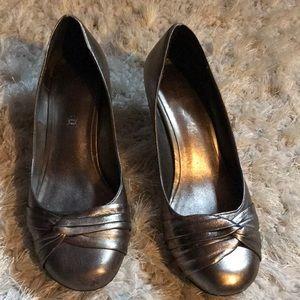 ALDO Metallic pewter kitten heels